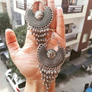 chandbali jhallar earring